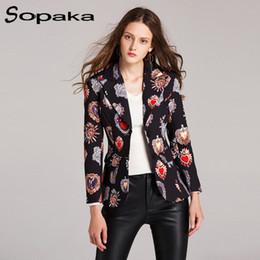 ec4333994ef9 2018 Autumn Black Heart Floral Printing Plaid Fashion Slim Single Breasted Women  Blazers Casual Runway Design Short Coat woman Y18110701