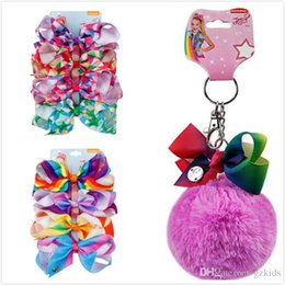 Pastellanhänger online-JOJO SIWA Keychani Mint Pom Pom mit Pastell Rainbow Bow Keychain Wollknäuel Kinder Bow Key Clip Haarnadel Anhänger