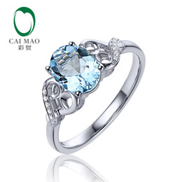 Anéis de diamante azul natural on-line-6x8mm Corte Oval 1.15ct Vs Azul Aquamarine 0.04ct Natural Pavimentar Diamante Real 14 k Anel de Noivado de Ouro Branco C19021501