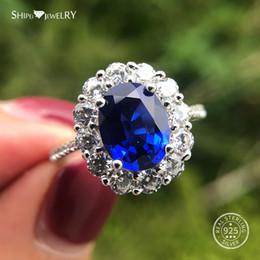 2019 tamaño del anillo topacio amarillo Shipei Coctail anillo 100% Tamaño 925 plata esterlina 7 * 9MM óvalo azul zafiro anillo de plata 925 joyería de Weddding compromiso 5-12