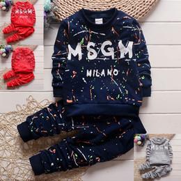 2019 trajes de pieza de solapa delgada 2pc del bebé del niño ropa de los muchachos de la camiseta + pantalones de deporte de los niños ropa de los niños ropa niños ropa de diseño de otoño de los muchachos 1-4years