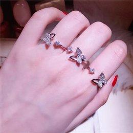 Anéis de dedo abertos on-line-Top Quality Moda 925 Sterling Silver Luxury Cristal Borboleta Anéis para As Mulheres Jóias Moda Anel de Dedo Ajustável Aberto