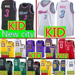Miami kids en Ligne-KID 3 Dwyane Wade Jersey Miami - Maillots de Basketball - Chaleur Lakers 23 James 30 Stephen Curry 13 Harden Jersey Enfants soldes pas cher