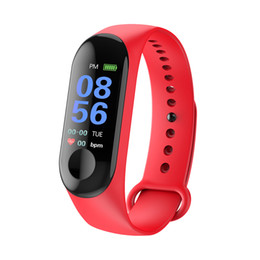 Tracker android en Ligne-1 pcs Fitness Bracelet Intelligent pour Xiaomi M3 Montre Intelligente IP67 Bracelet Étanche Fréquence Cardiaque Veille Surveillance Podomètre Pour IOS et Android