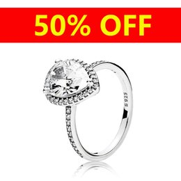 Deutschland Luxus 925 Sterling Silber Tear drop RING Set Logo Original Box für Pandora CZ Diamant Frauen Hochzeit Wassertropfen Ringe Schmuck cheap logo sets Versorgung
