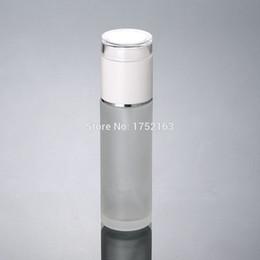envases de botellas de vidrio blanco Rebajas botellas de vidrio de 60 ml con blanco bomba de prensa y el casquillo blanco, botellas de loción de vidrio esmerilado, Envases de los cosméticos, empaquetado cosmético