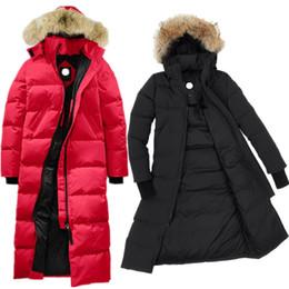 chaqueta chaqueta Rebajas Señoras diseñador de invierno Parkas nueva moda rodilla larga con capucha a prueba de viento frío abrigo de invierno hembra ganso marca abajo chaqueta