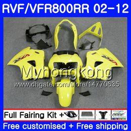 Carenado vfr amarillo online-Kit para interceptor HONDA GLOSS YELLOW VFR800RR 02 08 09 10 11 12 258HM.35 VFR 800RR 800R VFR800 RR 2002 2008 2009 2010 2011 2012 Fairing
