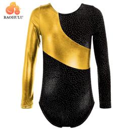 ballerina d'oro spandex Sconti Vendita calda! Summer Gold Ginnastica Body per ragazze Balletto Tutu Maniche lunghe Ballerini per bambini Body Dress Ballet Girls Dancewear
