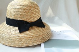 ladies dome hat style Coupons - 01904-xiao03206 handmade straw bowknot Hepburn style Lampshade modeli leisure lady holiday beach bucket cap women outdoor hat