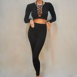 2019 stürzen Sexy Frauen Zweiteiler Body Crop Top Tiefer V-ausschnitt Criss-Cross Verband Ausschnitt Catsuit Hohe Taille Lange Hosen günstig stürzen