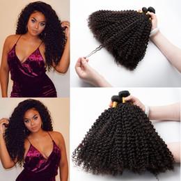 coiffures de tissage bouclé péruvien Promotion 3pieces 8-28 pouces vierges brésiliens vierges de cheveux humains tisser afro crépus extensions de cheveux bouclés brésiliens péruviens malaisiens faisceaux de cheveux 1B noir