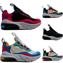 Спортивная обувь 24 онлайн-nike air max 270 27c 2019 Новое поступление реагируют дети кроссовки высочайшее качество BAUHAUS OPTICAL тройной черный мода мужской тренер дышащие спортивные кроссовки 24-35