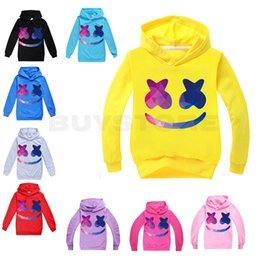 top vêtements teen Promotion Marshmello DJ Masque Enfants À Manches Longues Hoodies Garçon / Fille Hauts Adolescents Sweat Enfants Veste À Capuche Manteau Coton