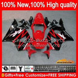 954 rote verkleidungen online-Körper für HONDA CBR900RR CBR 954 900 RR CC CBR900 CBR954 RR 02 03 77HC.0 900cc CBR 900RR 954RR CBR954RR 2002 2003 Fairing Kit Fabrik rot schw