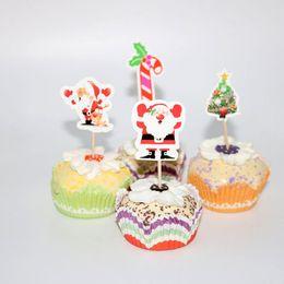 biscotti di natale Sconti 24pcs Tema di Natale Babbo Natale renna Cupcake Topper Picks Decorazioni per feste di Natale Bambini Evnent Party Supplies Favori