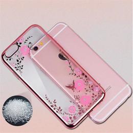 Cas de téléphone De Luxe Bling Diamant Électroplate Cadre Souple TPU Cas Pour iPhone XS max XR 8 7 6 S Plus 5 S Secret Garden Fleur Coque Claire ? partir de fabricateur