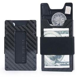 billetera de carbono Rebajas Fibra de carbono Delgado carpeta para el titular Hombres Mujeres Delgado bolsillo delantero carpeta de la tarjeta de crédito RFID bloqueo