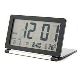2019 flip electronics Mini Secretária Display LCD Calendário Despertador Digital Flip Folding Escritório de Viagem Temperatura Silencioso Eletrônico flip electronics barato