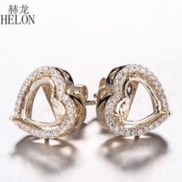 diamantes semi montagem Desconto HELON 7-9mm Coração Sólido 14 K Yellow Gold 0.23ct Diamantes Naturais Semi Mount Stud Brincos Mulheres Engagement Wedding Trendy Jóias