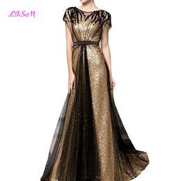 0a2872f77ad Pailletten Lange Abendkleider Scoop Cap Sleeves Tüll Abiballkleid Elegante  geraffte Empire-Abendkleider Vestidos De Gala Damenkleid