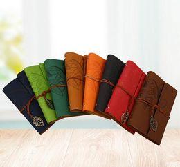 2019 caderno panda Frete grátis HOT WholesalesA folha saber outono cintas de couro loose-leaf folha caderno com notebook retro mão conta