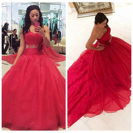 Sweetheart A Line Quinceanera Dresses Beaded Crystal Waist Long Lace Up Back Formal Vestidos De Quinceanera Prom Party Gowns Junior 2019