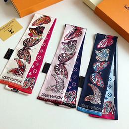 Seta pura per gli uomini online-Sciarpa di seta pura di alta qualità 100% pura sciarpa di seta della stampa della farfalla della moda uomini e donne della fascia della borsa della borsa della fascia dei capelli