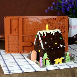 2019 großhandel edelstahl geschirr 3D Weihnachten Lebkuchenhaus Silikonform Schokolade Kuchenform DIY Kekse Backenwerkzeuge Schnelles Verschiffen Y0170