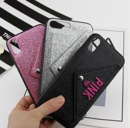 Rosa lg teléfonos online-Funda para teléfono rosa con ranura para tarjeta de diseño Glitter 3D bordado Love Pink Cover funda para teléfono móvil para iPhone X DHL gratis