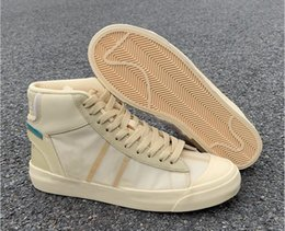 Segeltuch beste tennisschuhe online-Best Quality Custom Blazer Studio Mid Pale Vanilla Designer Shoes New Collaboration Spooky Pack Canvas Total Orange Sports Sneakers