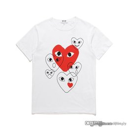 dresses com Promo Codes - COM DES G GARCONS CDG HOLIDAY Heart Emoji PLAY T-shirt new large red hearts limit the expression love couples dress shirt