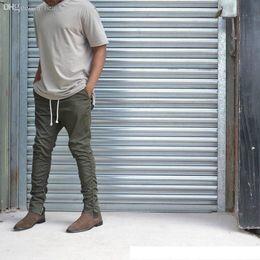 Pantalones verdes coreanos online-Venta al por mayor-Khaki Black Green Korean Hip Hop Pantalones de moda con cremalleras Conexión de fábrica Ropa urbana para hombre Joggers Fear of god Men Pants