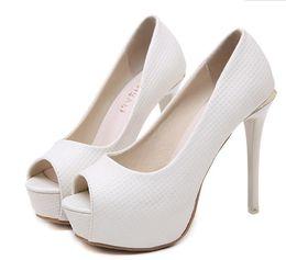 Canada Blanc élégante plate-forme peep toe ivoire talons hauts pompes pompes demoiselle d'honneur chaussures de mariage 12cm taille 34 à 40 Offre