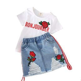 Mezclilla rosa online-ropa de diseñador para niños trajes de niñas top bordado de Rose para niños + faldas de mezclilla Hole 2pcs / set 2019 Summer Boutique Baby Clothing Sets B11