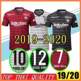 Chalets jersey online-Nuevas camisetas de fútbol 2019 2020 J league Vissel Kobe 8 A.INIESTA 7 DAVID VILLA MITA 10 PODOLSKI Personalizado Camiseta de fútbol de local ausente roja
