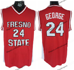Camicia paul george online-Mens Fresno State Bulldogs # 24 Paul George College Basket Bulldys a buon mercato Paul George Home Red Shirts Stitched S-XXL