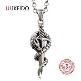 2020 drago puro Pure 925 gioielli in argento sterling Dragon Sword fascini Vintage Pendenti per uomini e donne Thai collana in argento regalo fine 1303 sconti drago puro