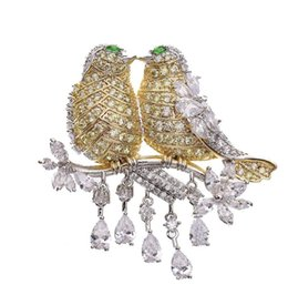 золотой булавка для младенца Скидка Новый дизайнер броши унисекс мода Европа и Америка роскошные позолоченные птица броши булавки для партии