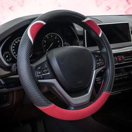 toyota de fibra Desconto Fibra de carbono Impresso Cobertura de Volante Do Carro Capa de Proteção do Volante-roda Linda Estilo Coelho para BMW Toyota Honda Suzuki Kia