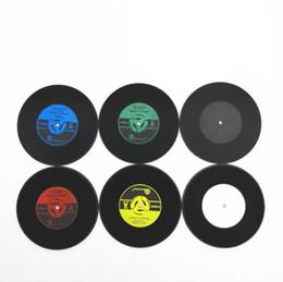 Estofamento de vinil on-line-Esteira Do Copo Do Vintage CDS Retro Estilo de Biscoito De Vinil Coasters Table Cup Pad Decoração Coffee Tea Placemat Decoração De Mesa Copo Mat