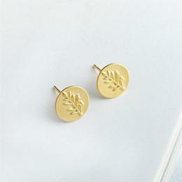 orecchini di diamanti rubino Sconti Fengxiaoling Orecchini a forma di albero in argento dorato con foglie dorate per le donne Orecchini in argento sterling 100% 925