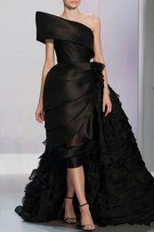 Um ombro assimétrico vestido de noite on-line-Feito sob encomenda 2019 Novo Preto Assimétrico Vestido de Noite Um o Ombro Ruffled Vestido Formal Vestido de festa Vestido Árabe