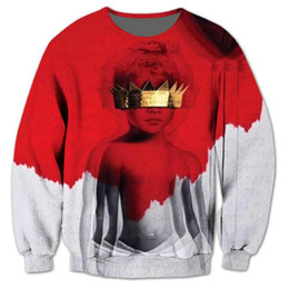 Rihanna 3d sweatshirt on-line-Rihanna Anti 3D Impressão Por Sublimação Camisola Homens Jumper Outfits Hoodies Moda Hip Hop Camisolas Plus Size 5XL
