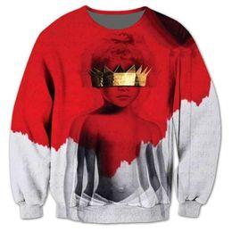 Sudadera rihanna 3d online-Rihanna Anti 3D Sublimación Imprimir Sudadera Hombres Jumper Trajes Sudaderas Moda Hip Hop Sweatershirts Plus Tamaño 5XL