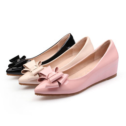 low wedge heel grey shoes Promo Codes - Hot Sale- Women Wedges Platform Flat Oxfords Shoes Loafers Low Heels Pumps Pointed Toe Pink Black Ladies Nude Driving Shoes Size 32-41