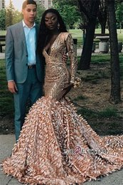 0a2ab216822 prom girl sequin dress Promo Codes - Gold Shinny Mermiad Prom Evening Dress  2019 Sexy Black