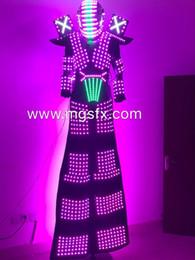 Führte leichte kleidung online-LED-Roboter-Kostüm mit Stelzen Light up Mann Anzug Glow Outfit leuchtende Kleidung für Nachtclub Leistung