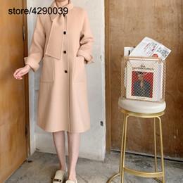 2020 coreano design casacos de inverno Coreano Moda Design original Single-sided casaco de lã cosido à mão sobre o joelho Brasão Exquisite Lã Mulheres Winter coreano design casacos de inverno barato