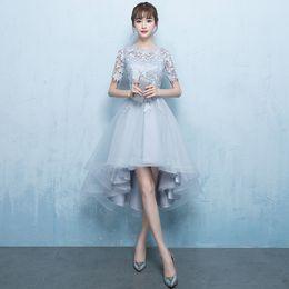 016778fc1 Vestido de dama de honor elegante gris Noble mujeres del o-cuello del  partido de noche vestidos de las muchachas banquete formal Vestidos Traje  de boda ...